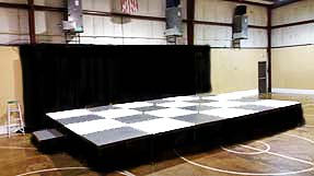 Custom checker-board stage for rent in Memphis